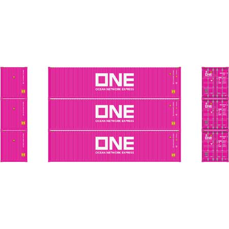Athearn 17642 - N Scale 40ft High-Cube Container - ONE #1 (3/pkg)