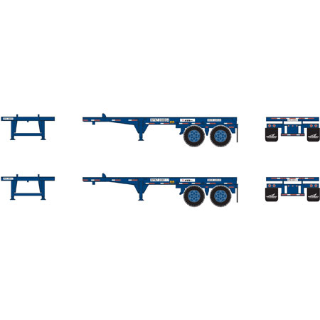 Athearn HO 27921 20 Ft Container Chassis, NYK - 2 units