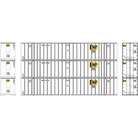 Athearn RTR 72770 - HO 53ft Stoughton Container - EMP/White (3pk)