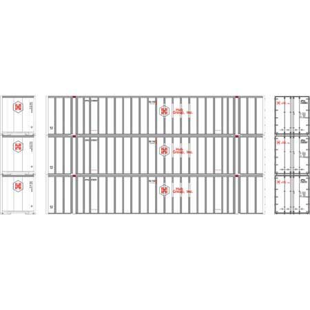 Athearn RTR 72773 - HO 53ft Stoughton Container - HUB/White (3pk)