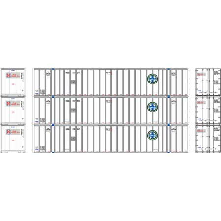 Athearn RTR 72778 - HO 53ft Stoughton Container - HUB/BNSF (3pk)