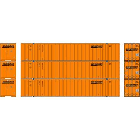 Athearn RTR 72780 - HO 53ft Stoughton Container - Schneider (3pk)