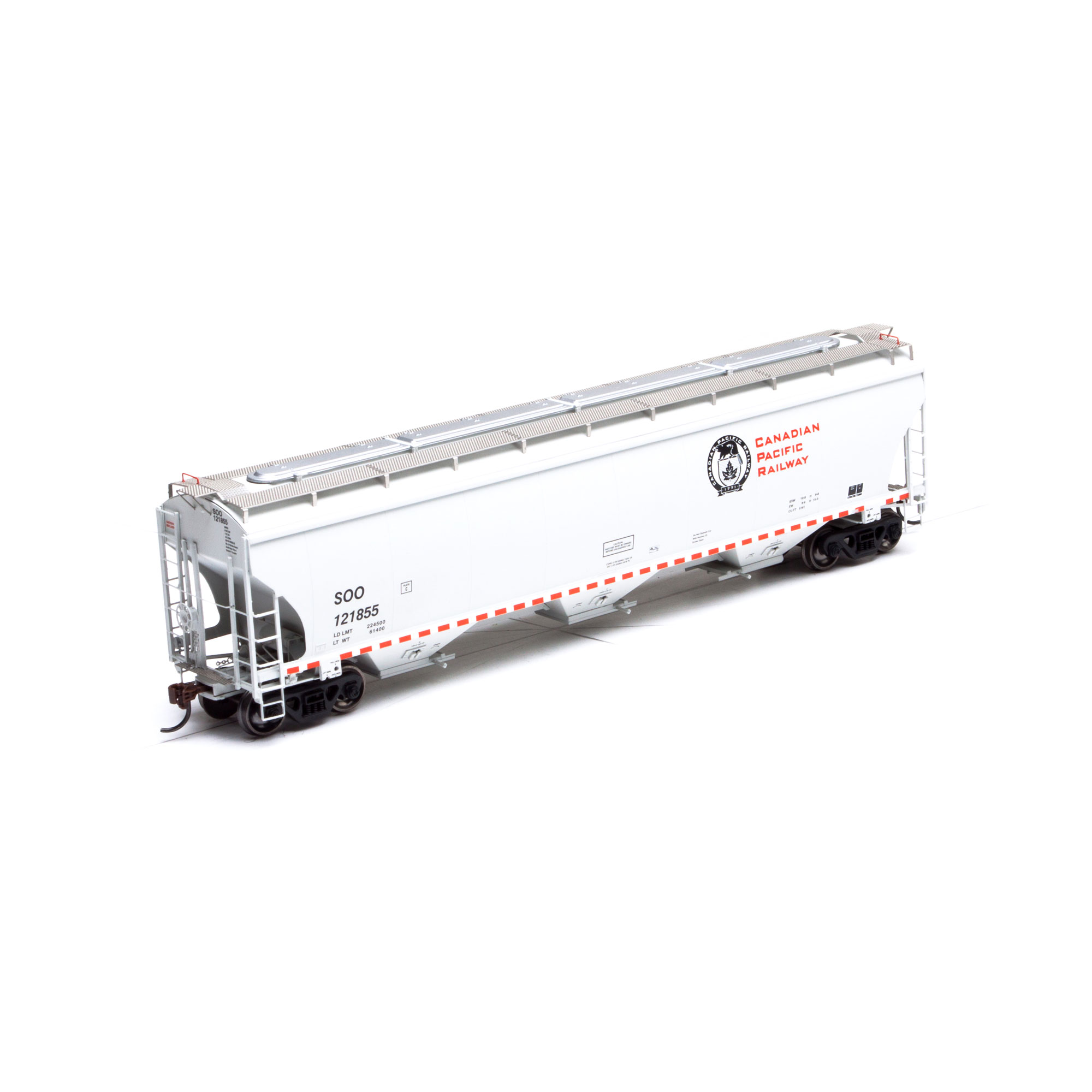 Athearn 89595 HO RTR Trinity 3-Bay Covered Hopper, Canadian Pacific Railway CPR/SOO #121809