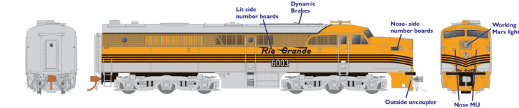 Rapido 23509 HO - PA-1 Single Locomotive - DCC & Sound - Denver & Rio Grande Western #600A