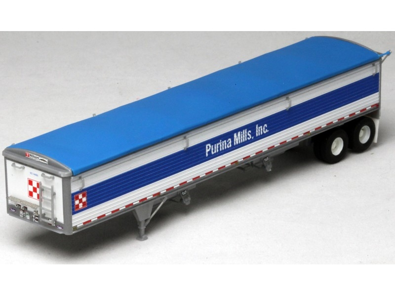 Intermountain Lone Star 6034 HO Wilson Pacesetter 43 Ft Grain Trailer Kit -White Body, Blue Tarp, Purina Mills Decals