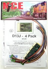 NCE 175 HO D13J Decoder - 1.2 Amp  - with NMRA 9 pin DCC Quick Plug and Harness   - 4 Pack