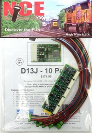 NCE 176 HO D13J Decoder - 1.2 Amp  - with NMRA 9 pin DCC Quick Plug and Harness   - 10 Pack