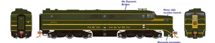 Rapido 23517 HO - PA-1 Single Locomotive - DCC & Sound - New Haven #0776