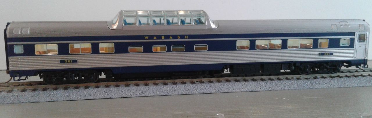 Rapido 116037 HO Budd Passenger Car Mid-Train Dome-lounge-Observation Car -  Wabash - #201
