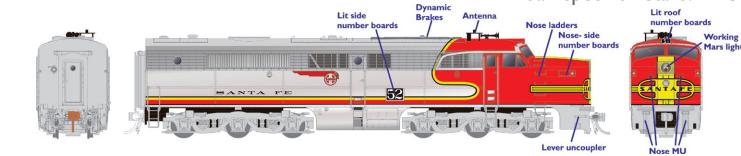Rapido 23502 HO - PA-1 Single Locomotive - DCC & Sound - Santa Fe #59L