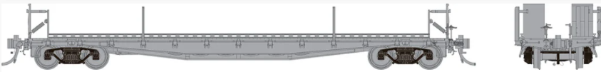 Rapido 138098 HO - F30D Body Style, Single 50Ft TOFC Flat Car: Early Style Undecorated