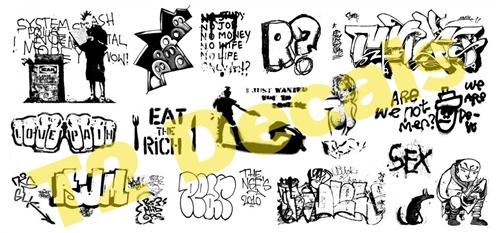 T2 Decals HOGRAF040 - HO Graffiti Decals - Set #40