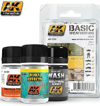 AK Interactive 688 BASIC WEATHERING SET - 3 Bottles - 35ml each