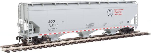 Walthers Mainline - 7610 HO 60 ft NSC 5150 3-bay Covered Hopper - CP Rail/SOO #119169
