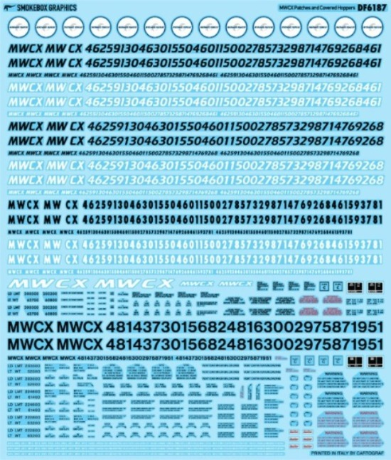 SmokeBox Graphics DF6187 - HO MWCX Patches and Covered Hoppers - Decals