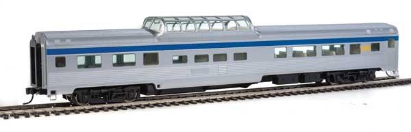 Walthers MainLine HO 30405 85 Ft Budd Dome Coach - Ready to Run - Via Rail Canada (silver, blue, yellow)