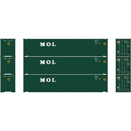 Athearn RTR 24555 HO 45ft Container - MOL (3pk)