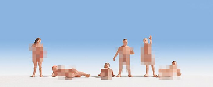 Noch 15843 - HO Nude Couples Sunbathing (3 standing 3 laying)
