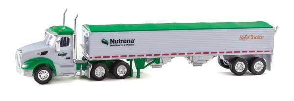 Trucks n Stuff TNS079 HO Peterbilt 579 Day-Cab Tractor w/Grain Trailer - Nutrena-Safe Choice