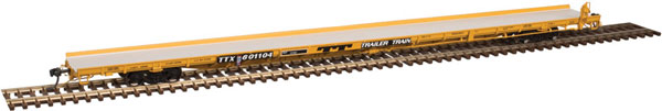 Atlas 20 004 094  HO Master  89 Ft  F89-J Flat Car - Mid/End Hitches - TTX  #601104 (TRAILER TRAIN Logo 1970s yellow)