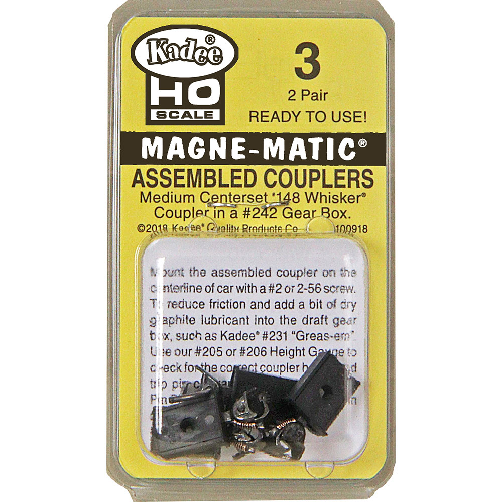 Kadee 3 - HO Assembled #148 Whisker® Metal Couplers - Medium (9/32 inch) Centerset Shank (2pair)