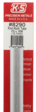 K&S Engineering 8290 All Scale - 1/2 inch OD Round Aluminum Tube - 0.029inch Thick x 12inch Long
