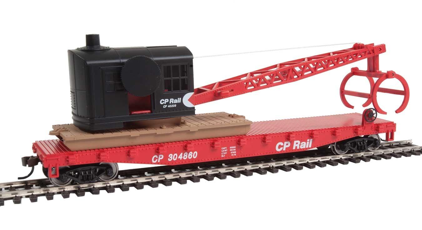 Walthers Trainline 1781 - HO Flatcar w/Logging Crane - CP Rail #304860