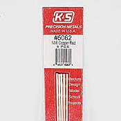 K&S Engineering 5062 All Scale - 12 inch Long Round Copper Rod - 1/16 inch Diameter (5 pkg)
