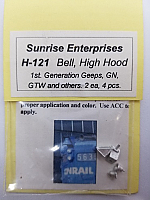 Sunrise Enterprises 13121 HO Scale - High Hood Bell - 2 pairs