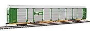 WalthersProto 101323 HO - 89ft Thrall Bi-Level Auto Carrier - Ready To Run - Burlington Northern Rack - TTGX Flatcar #150517