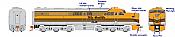 Rapido 23512 HO - PA-1 + PB-1 Locomotive Set - DCC & Sound - Denver & Rio Grande Western #600C+600B