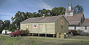 Walthers N Scale Cornerstone Co-Op Storage Shed on Pilings