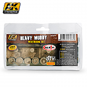 AK Interactive 77 Heavy Muddy Weathering Set - 4 35 mL bottles