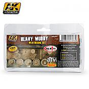 AK Interactive 77 Heavy Muddy Weathering Set - 4 35 mL bottles