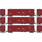 Athearn RTR 67735 - HO 50ft Evans Double-Door Plug Boxcar - Wisconsin Central (3pk)