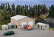 Walthers Cornerstone 4125 - HO Pole Barn and Sheds - Kit - Set of Four Buildings