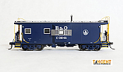 Tangent Scale Models HO 60010-02 - ICC I-18 Steel Bay Window Caboose - B&O - Original Blue 1968plus #C-3016