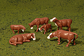 Bachmann 33102 HO Brown and White Cows - 6 Figures