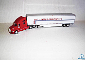 Trucks N stuff 95235 HO Kenworth T700 with 53ft Dry Van Trailer - Assembled -- U.S. Xpress (white, red, blue)