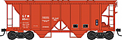 Bowser 42222 HO 70 Ton 2 Bay Covered Hopper with Open Sides-Ready to Run- Grand Trunk Western No.85412 (MOW orange)