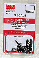 Micro Trains 003 02 043 - N Scale Barber Roller-Bearing Freight Car Trucks - w/ Medium & Extended Couplers (1 Pair)