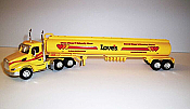 Trucks n Stuff TNS132 - HO Peterbilt 579 Day-Cab Tractor with Gas Tank Trailer - Assembled -- Loves (yellow, red, black)