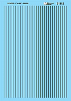Microscale 91112 HO Scale - Stripes - 1 and 2 inch widths - Black - Waterslide Decal