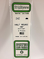 Evergreen Scale Models 242 - Opaque White Polystyrene Half Round .08In x 14In (4 pcs pkg)