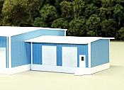 Pikestuff 8018 - N Add-On Loading Dock Building - w/ 4 Overhead Doors (Scale: 30 x 40ft) - Blue