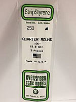 Evergreen Scale Models 250 - Opaque White Polystyrene Quarter Round .10In x 14In (3 pcs pkg)