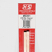 K&S Engineering 5091 All Scale - 3/16 inch OD Square Copper Tube - 0.014 Thick x 12 inch Long (2 pkg)