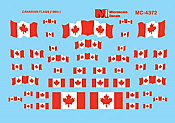 Microscale MC-4372 HO Scale - Canadian Flags (1965+) - Waterslide Decal