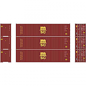 Athearn RTR 27170 - HO 40ft Hi-Cube Container - MSC (3pk)