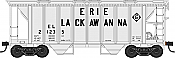 Bowser HO 42220 70-Ton 2-Bay Coverde Hopper with Open Sides -  Erie Lackawanna EL 21258